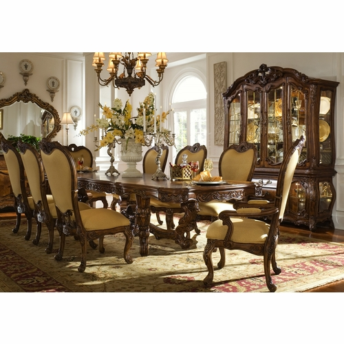 AICO by Michael Amini - Palais Royale Rect. Dining Room Set w/ China & Buffet (11 pc) in Rococo Cognac