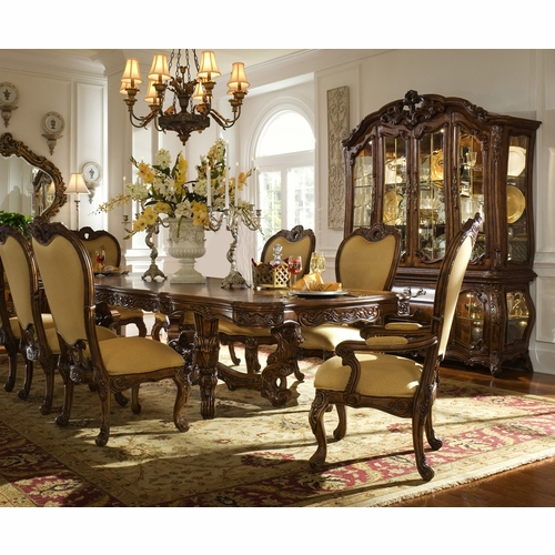 AICO by Michael Amini - Palais Royale Rect. Dining Room Set w/ China & Buffet (9 pc) in Rococo Cognac