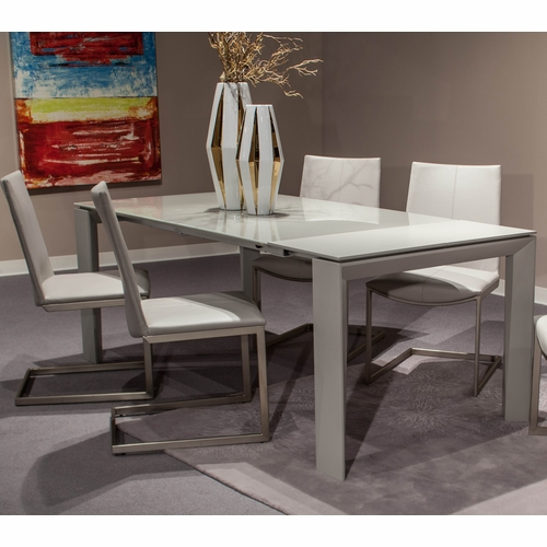 AICO by Michael Amini - Trance Milan Rect. Glass Dining Room Set (5 pc)