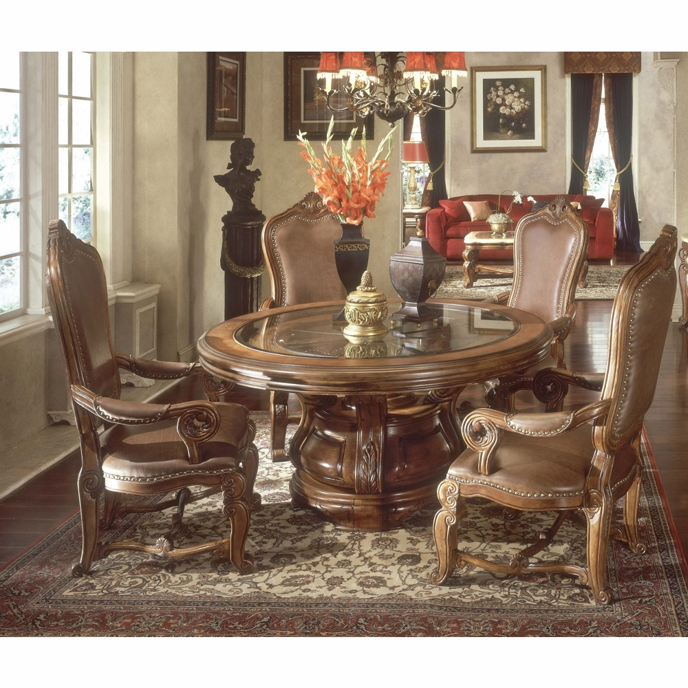Michael Amini Dining Room Set: Tuscano Round Table Dining Room (5