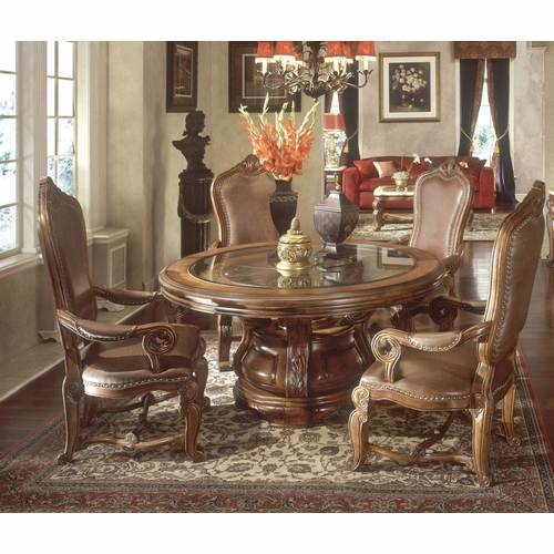 AICO by Michael Amini - Tuscano Round Table Dining Room (5 pc) in Melange