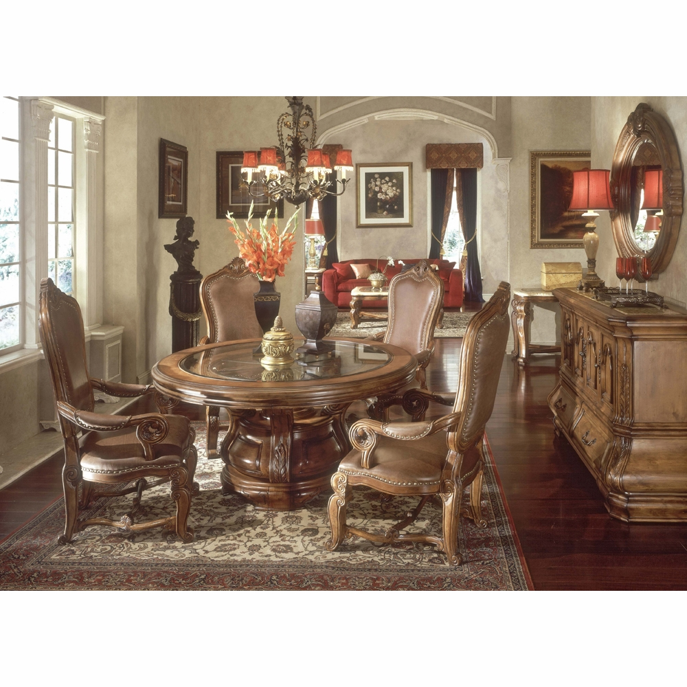 Tremendous Aico By Michael Amini Tuscano Round Table Dining Room 7 Pc In Melange Unemploymentrelief Wooden Chair Designs For Living Room Unemploymentrelieforg