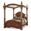 AICO by Michael Amini - Villa Valencia Cal. King Canopy Bed in Classic Chestnut