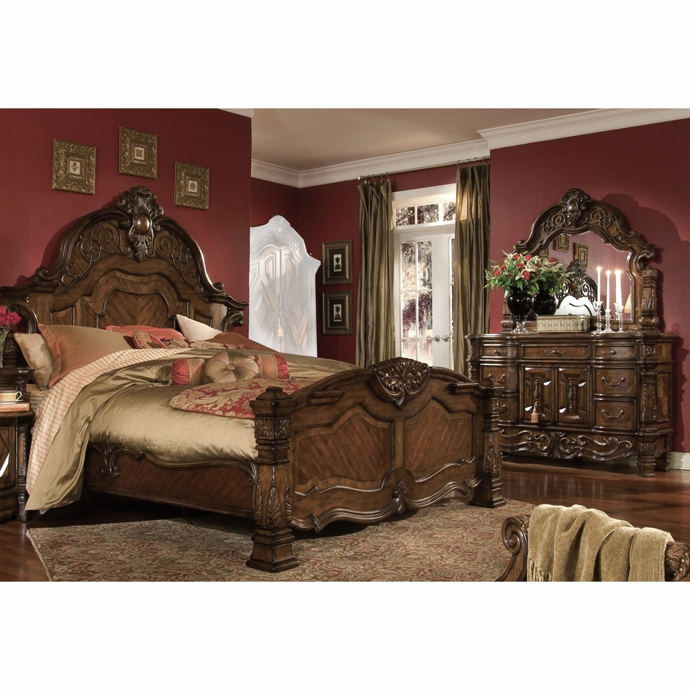 AICO by Michael Amini - Windsor Court Queen Mansion Bedroom Set w/ Chest (6  pc) in Vintage Fruitwood