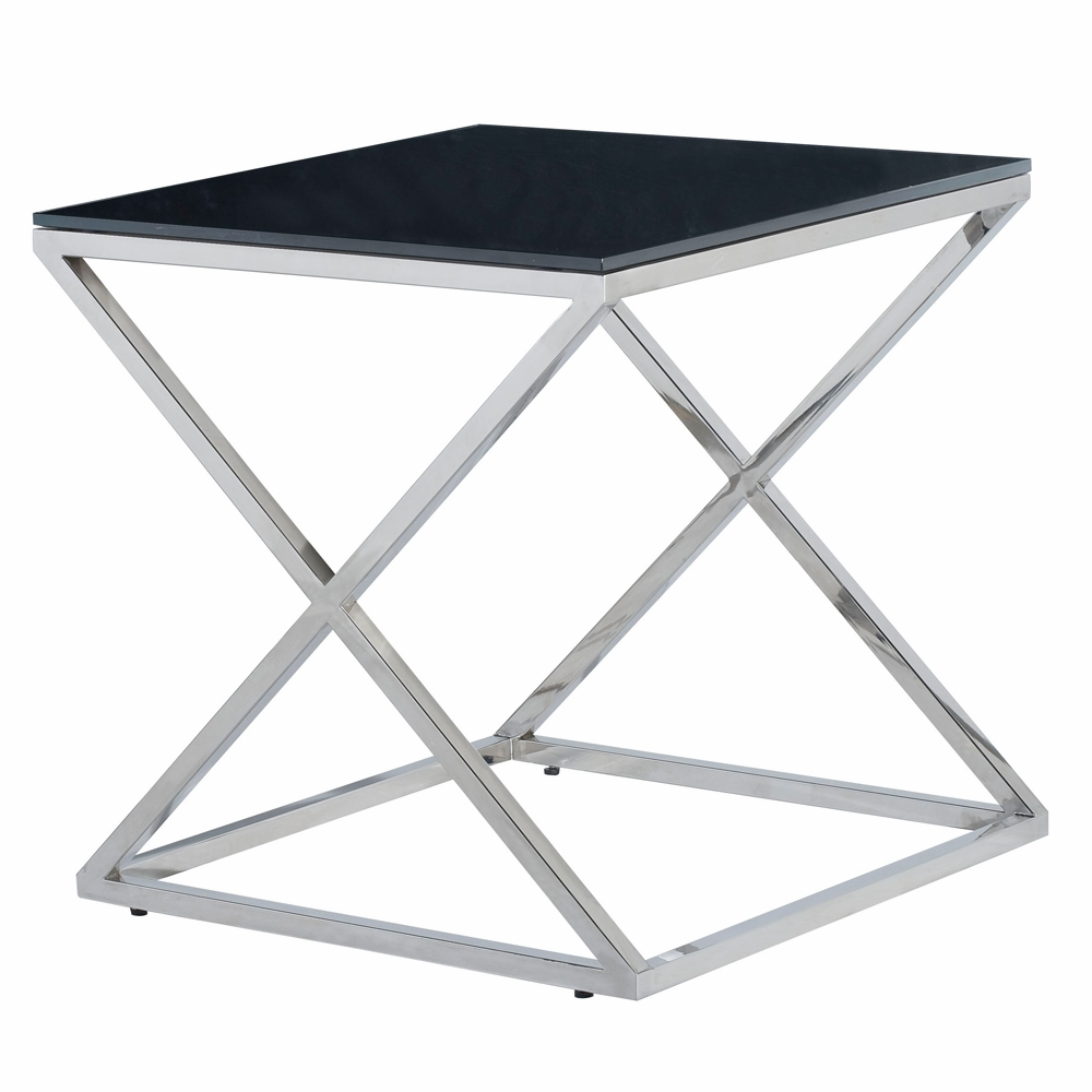 Allan Copley Designs Excel Square End Table With Black Glass Top