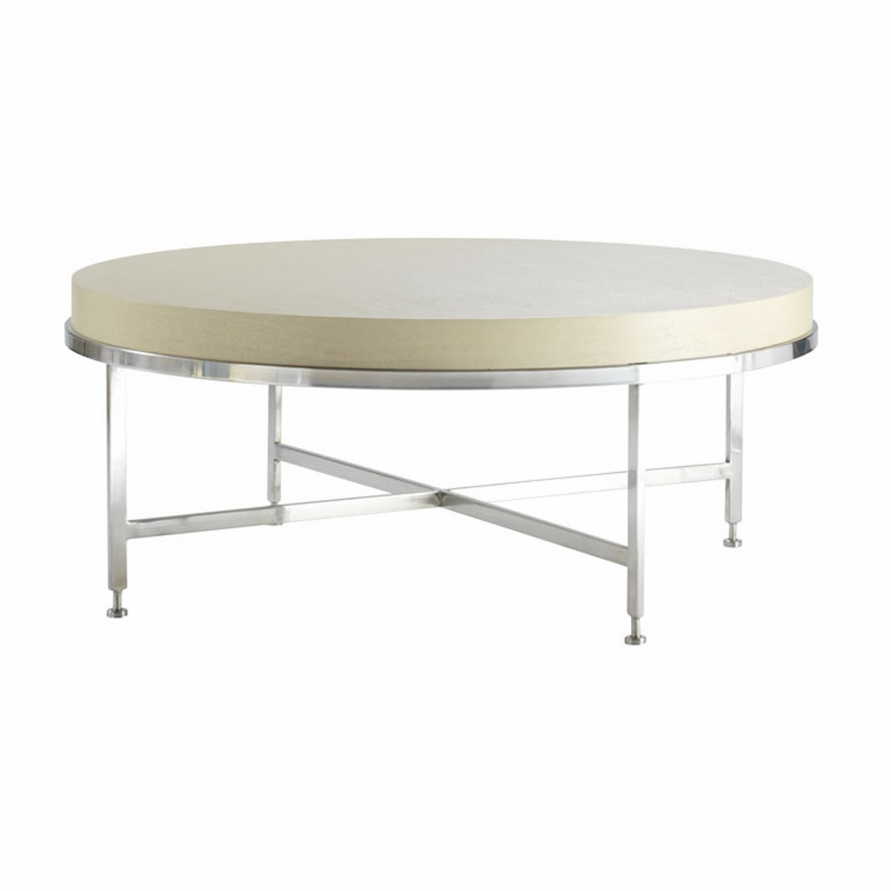 Allan Copley Designs Galleria Round Tail Table With White On Ash Top Brushed Stainless Steel