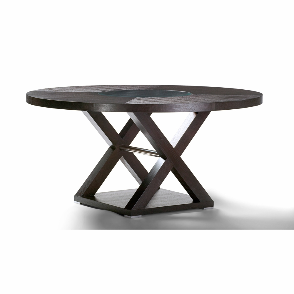 Allan Copley Designs Halifax 60 Inch Round Wood Top Dining Table In Espresso Finish With Brushed Stainless Steel Accents 3410 04