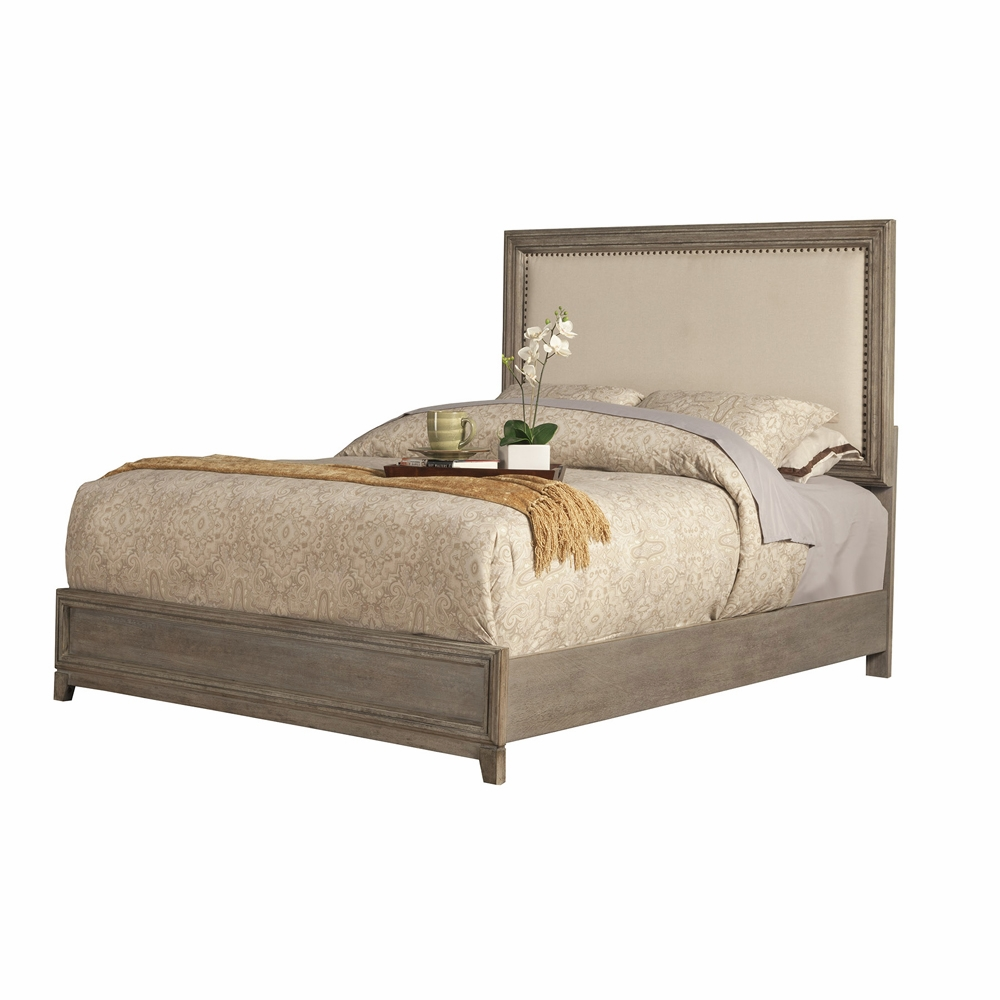 Alpine Furniture Camilla Standard King Panel Bed With Upholstered Headboard And Nailheads 1800 07ek