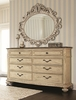 American Drew - Jessica Mcclintock-The Boutique Collection Dresser and Oval Decorative Mirror - Silver Veil Finish  - 217-130W_040