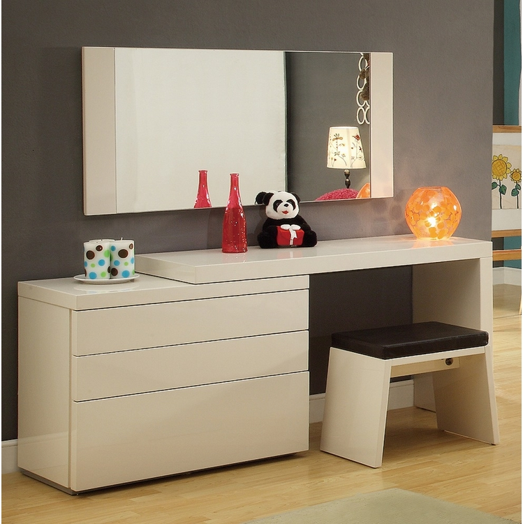 Athome USA - Athens Dresser 4 Pcs Set (Dresser,Extension,Mirror And Stool) in White High Gloss Finish - ATHCGSW