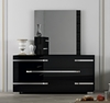 Athome USA - Volare 6/Drawer Double Dresser and Mirror in Black Lacquer Finish - VOBBLCM01_VOBBLSP01