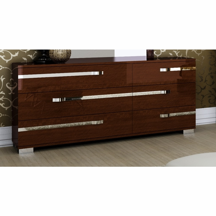 Athome USA - Volare 6/Drawer Double Dresser in Walnut Lacquer Finish - VOBNOCM01