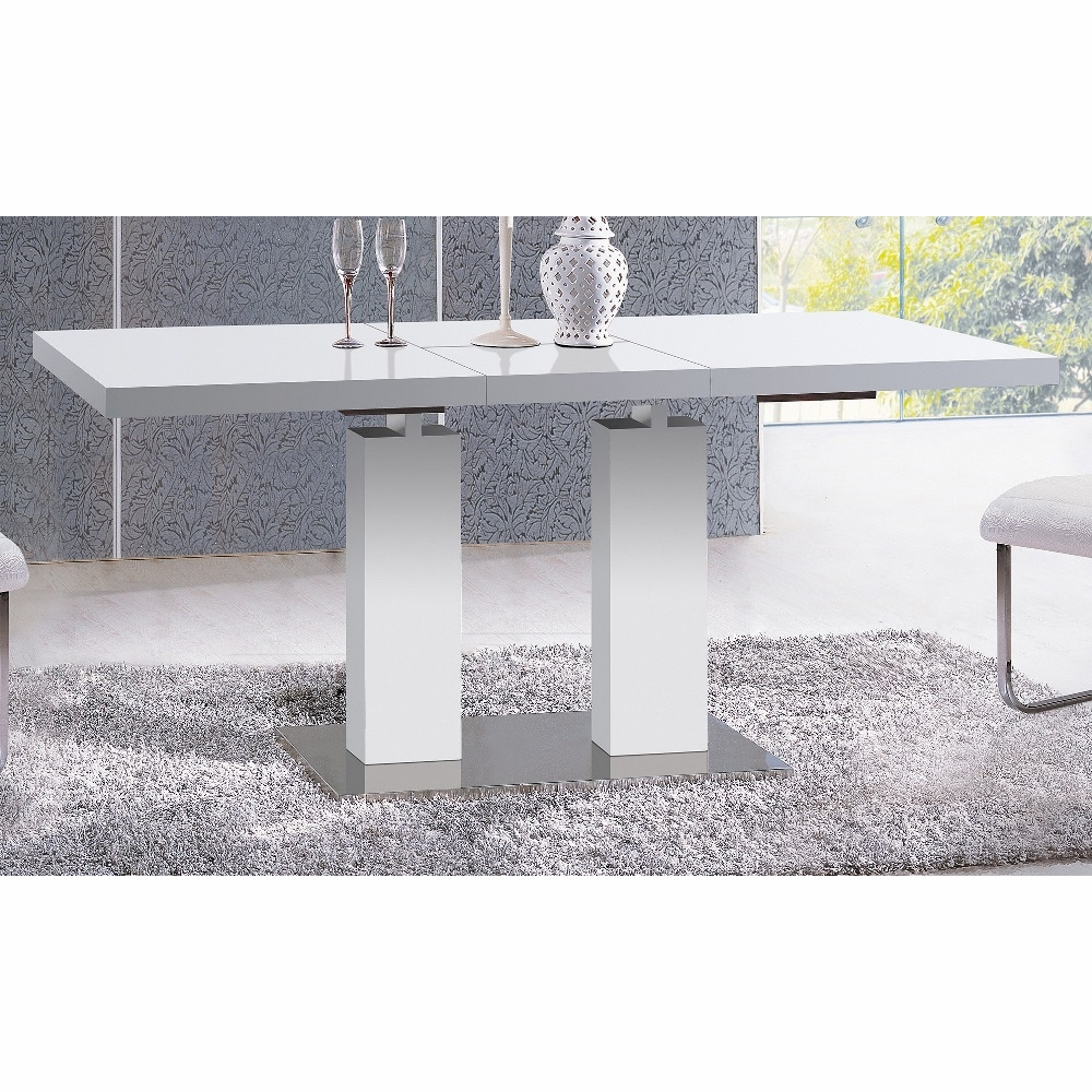 Athome Usa White Glossy Expandable Dining Table Dt20104