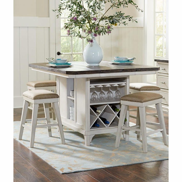 Avalon - Mystic Cay Kitchen Island With 6 Backless Stools -  D00042-KIB_KIT_KIS_KIS_KIS