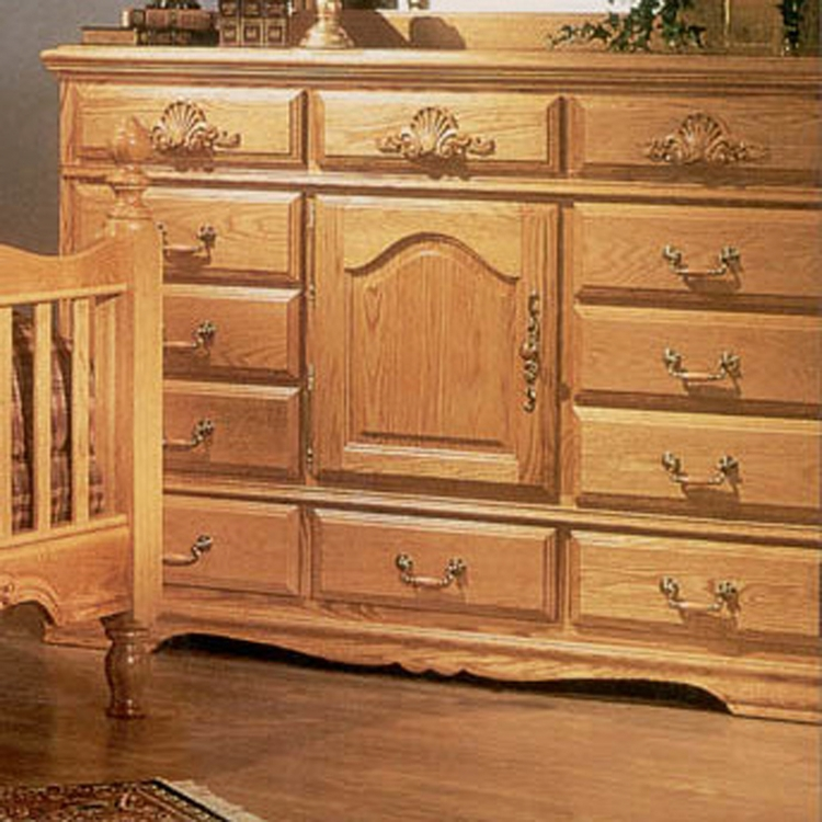 Bebe Furniture - Country Heirloom 12 Drawer Master Dresser with Refrigerator with Carving - 514