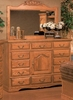 Bebe Furniture - Country Heirloom 12 Drawer Master Dresser with Refrigerator with Carving and Landscape Mirror - 514_517