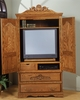 Bebe Furniture - Country Heirloom Large Tv Armoire with Wrap Around Doors and Carving Detail - 508