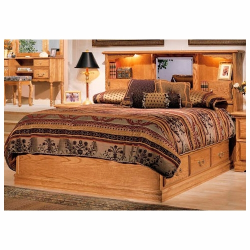 Bebe Furniture Country Heirloom Queen Platfom Pedestal Base With 6 Drawers And Bookcase Headboard 610q 670q