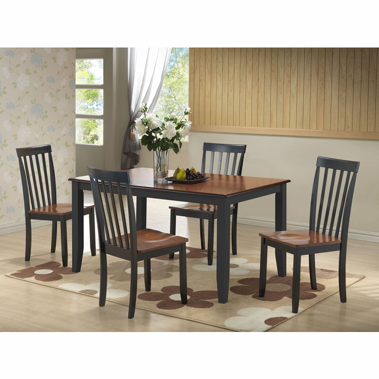 Boraam - 5Pc Bloomington Dining Set in Black and Cherry - 21034