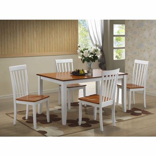 Boraam - 5Pc Bloomington Dining Set in White and Honey Oak - 22033