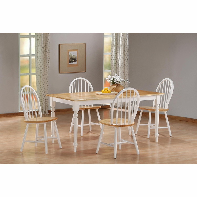 Boraam - 5Pc Farmhouse Dining Set in White and Natural - 80369