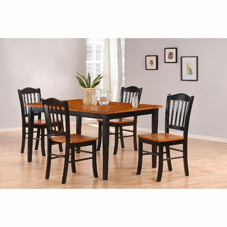 Boraam - 5Pc Shaker Dining Set in Black and Oak - 80536