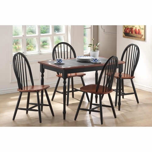 Boraam - 5Pc Tile Top Dining Set in Black and Cherry - 80530