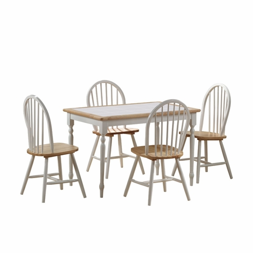 Boraam - 5Pc Tile Top Dining Set in White and Natural - 80130