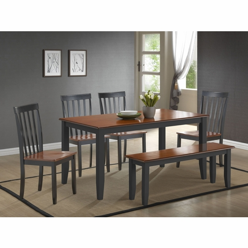Boraam - 6Pc Bloomington Dining Set in Black and Cherry - 21035