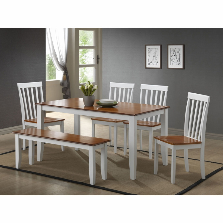 Boraam - 6Pc Bloomington Dining Set in White and Honey Oak - 22034