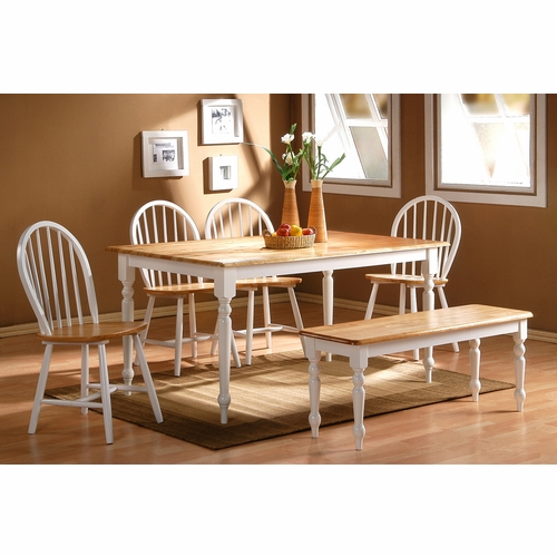 Boraam - 6Pc Farmhouse Dining Set in White and Natural - 86369