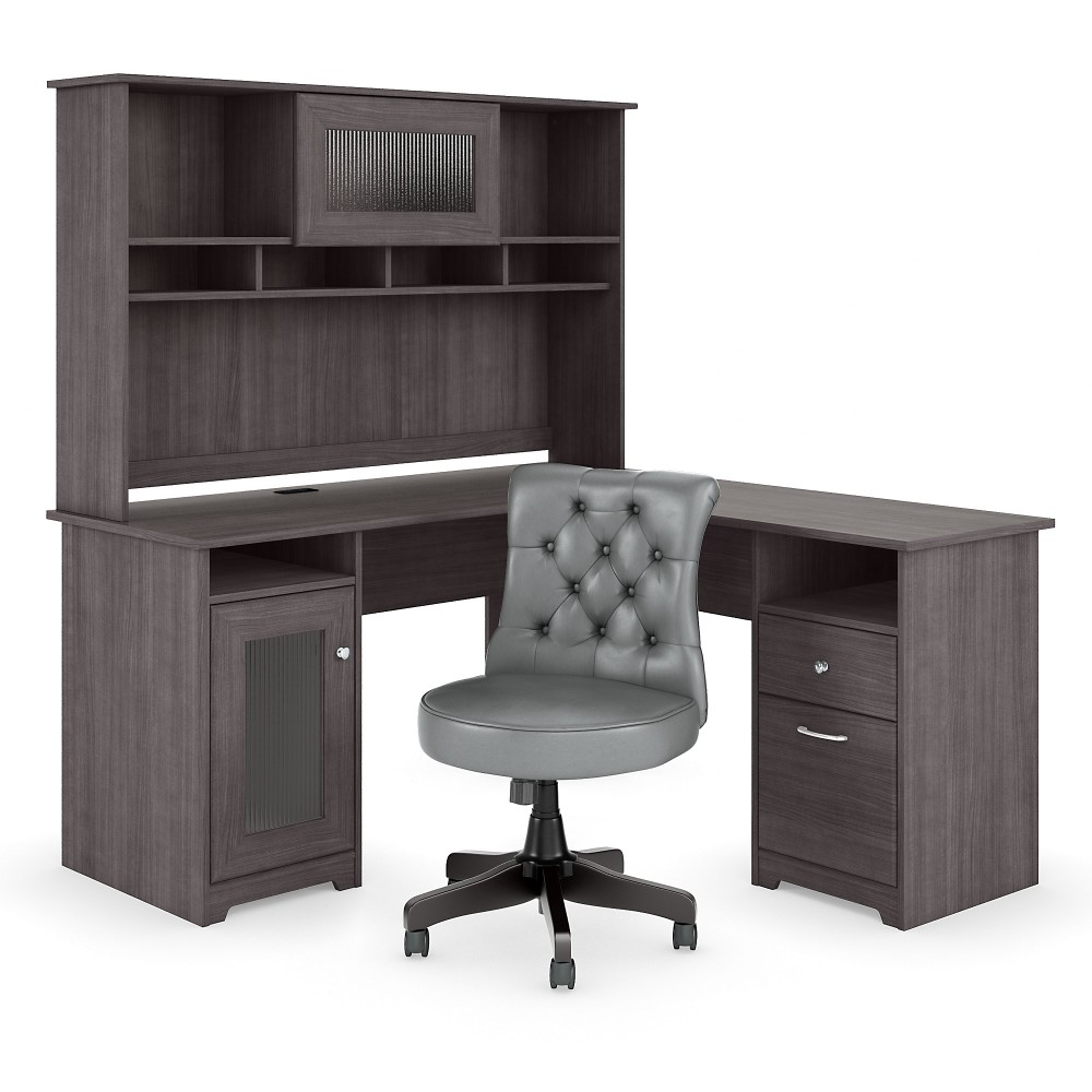 Bush Furniture - Cabot 60W L Shaped Desk with Hutch and ...