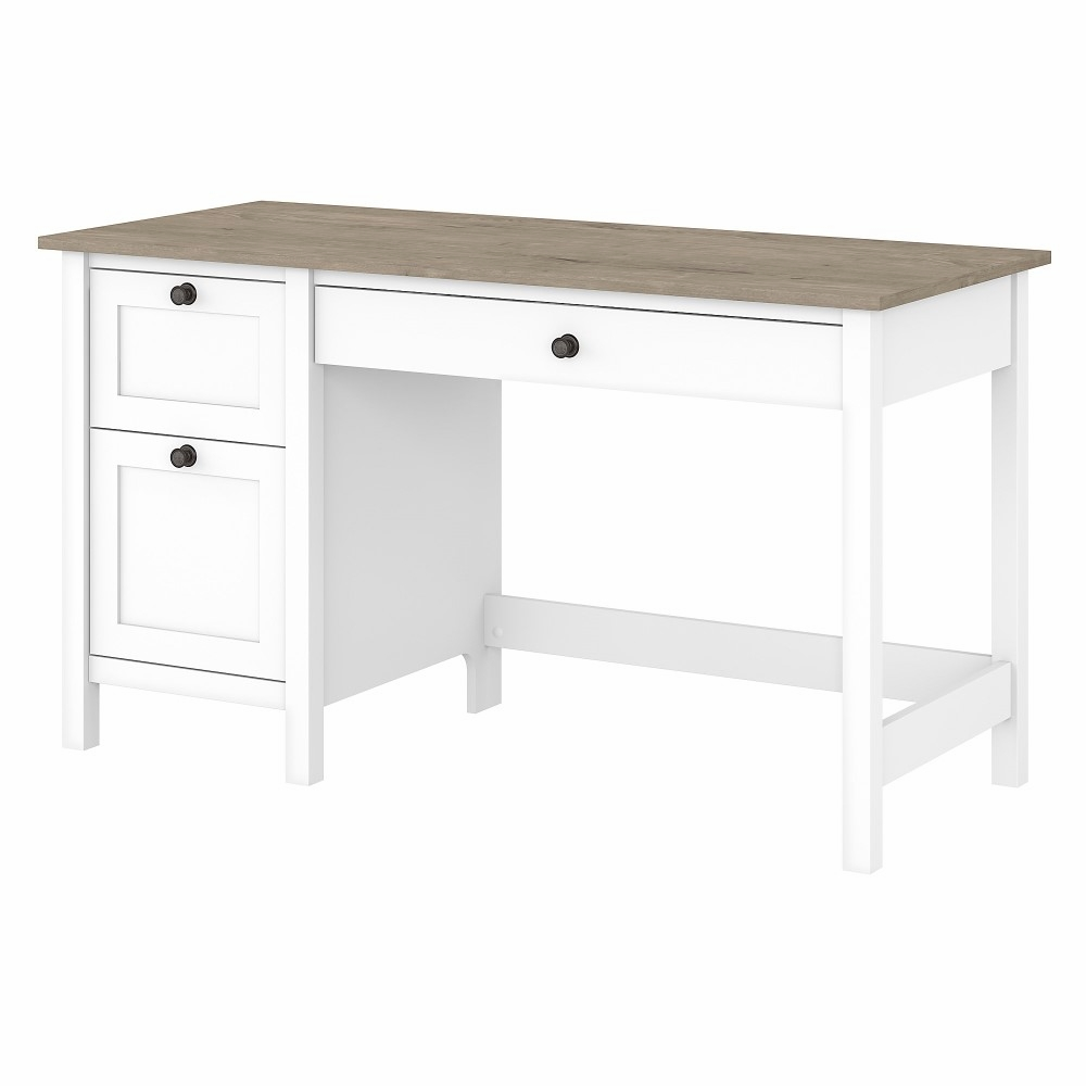 Bush Furniture - Mayfield 49W Computer Desk with Drawers in Pure White and  Shiplap Gray - MAD4949GW49-49