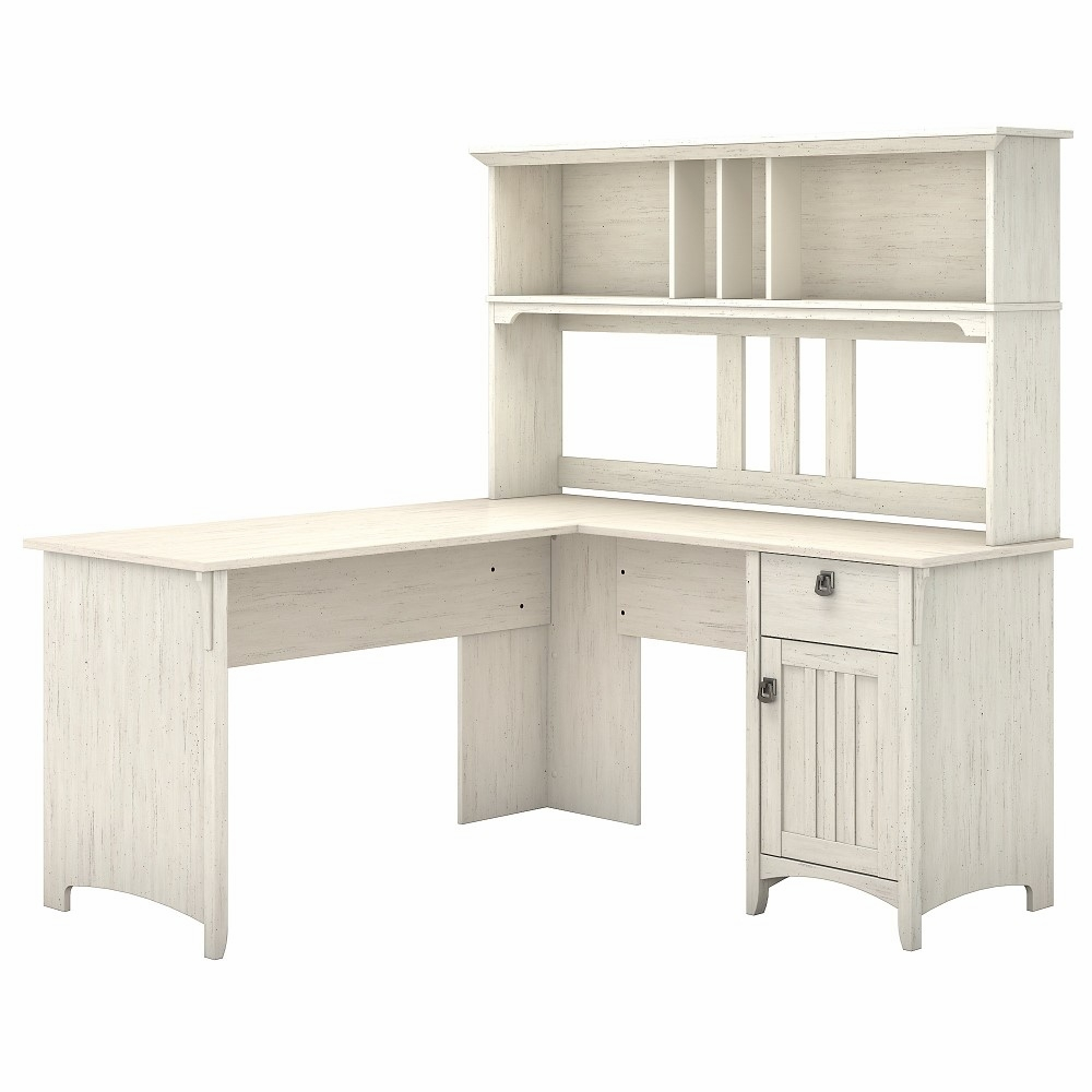 Bush Furniture - Salinas 43W L Shaped Desk with Hutch in Antique White -  SAL43AW