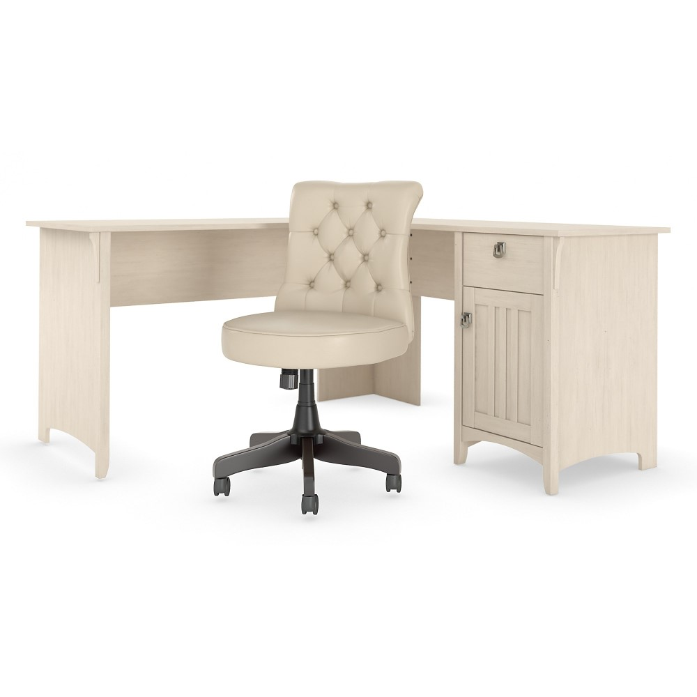 Bush Furniture - Salinas 43W L Shaped Desk with Mid Back Tufted Office  Chair in Antique White - SAL43AW