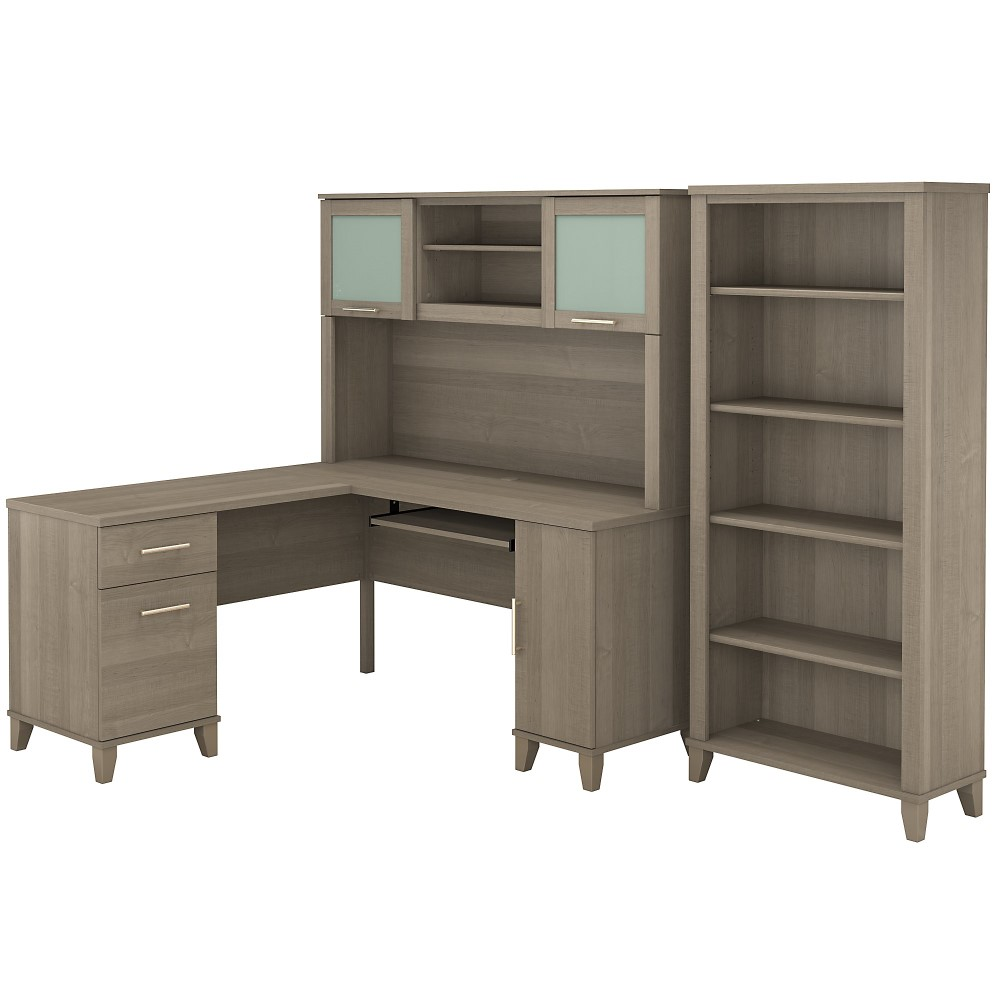 Bush Furniture - Somerset 32W L Shaped Desk with Hutch and 32 Shelf Bookcase  in Ash Gray - SET32AG