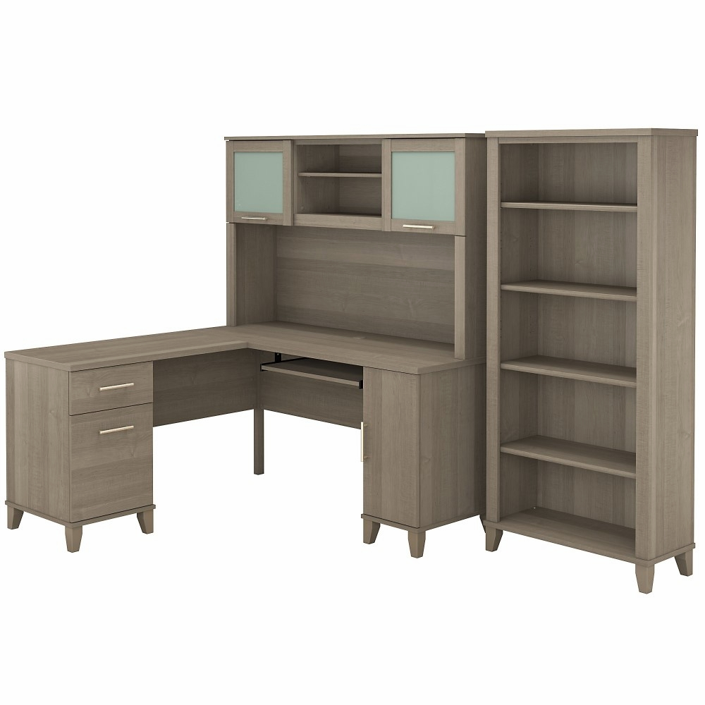 Bush Furniture Somerset 60w L Shaped Desk With Hutch And 5 Shelf Bookcase In Ash Gray Set010ag