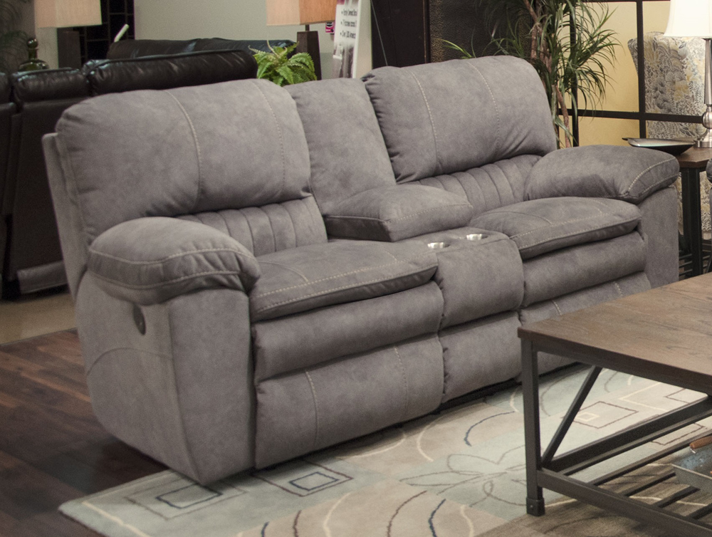 Catnapper Reyes Graphite Lay Flat Reclining Console