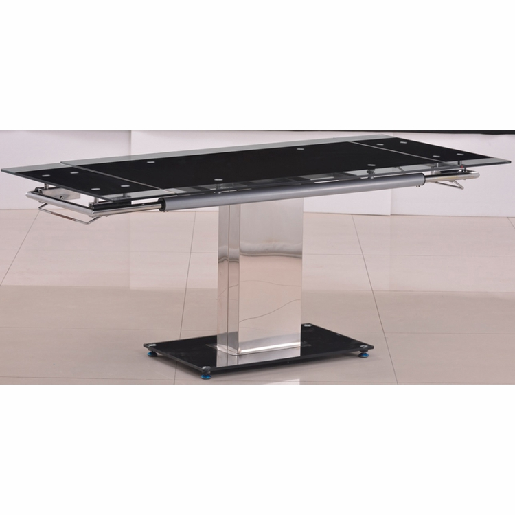 Chintaly - Antonia Black Glass Table W/ 2 Extensions And Chrome Base - ANTONIA-DT