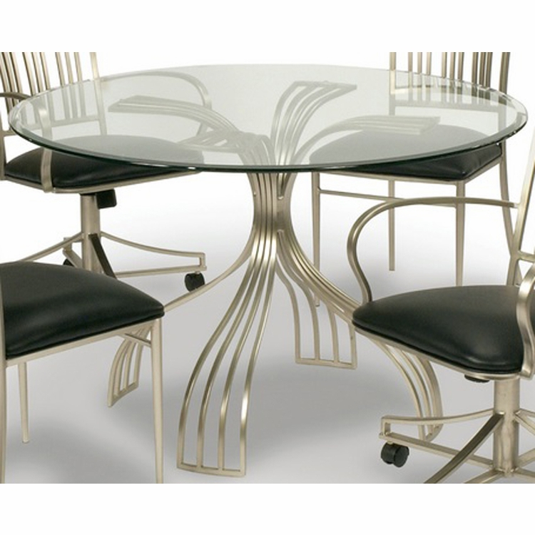 Chintaly - Ashtyn Round Glass Dining Table With Bevel Edge - ASHTYN-DT