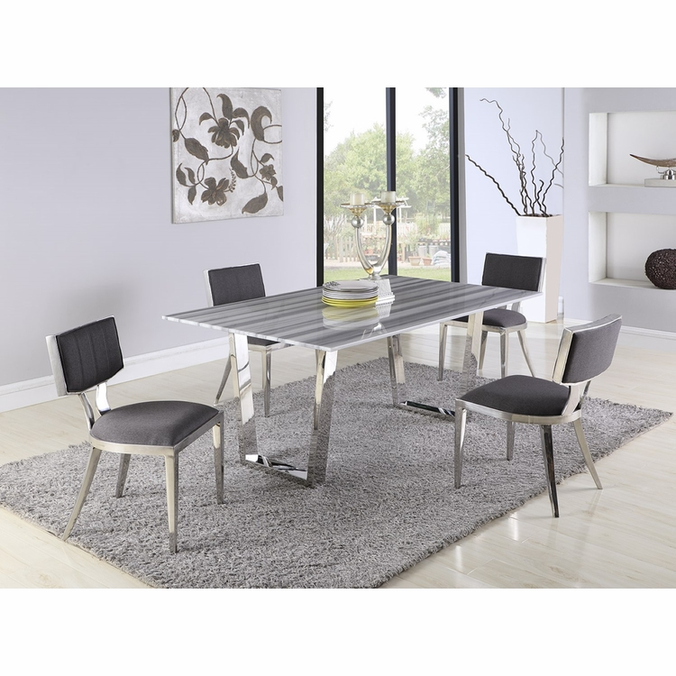 Chintaly - Brianna 5 Pieces Dining Sets Table With 4 Mavis Side Chairs - BRIANNA-POL-MAVIS-5PC