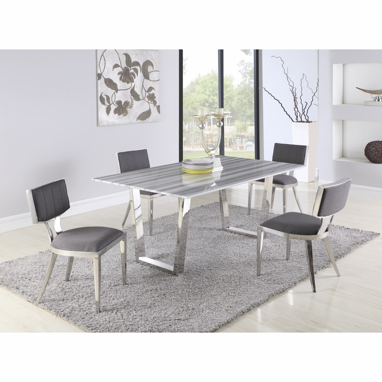 Chintaly - Brianna 5 Pieces Dining Sets Table With 4 Maya Side Chairs - BRIANNA-POL-MAYA-5PC