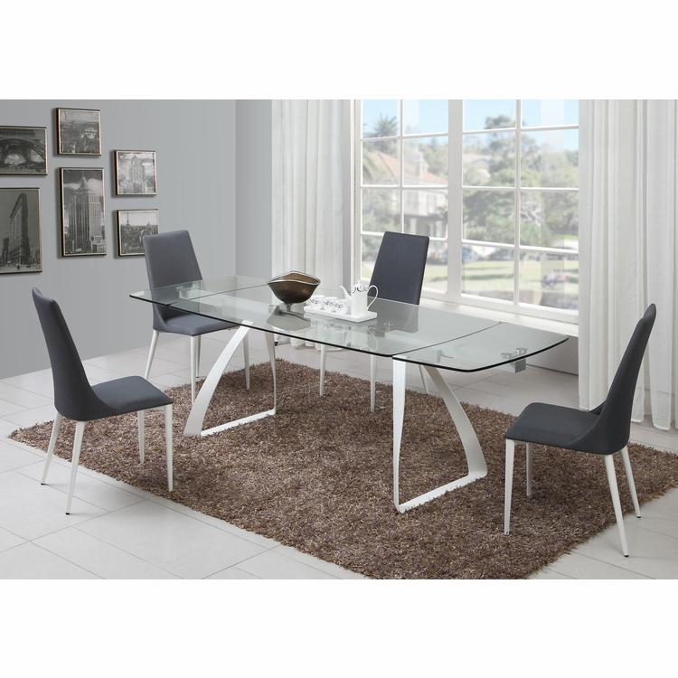 Chintaly - Chloe 5 Pieces Dining Set Table And 4 Side Chairs In Grey - CHLOE-GRY-5PC