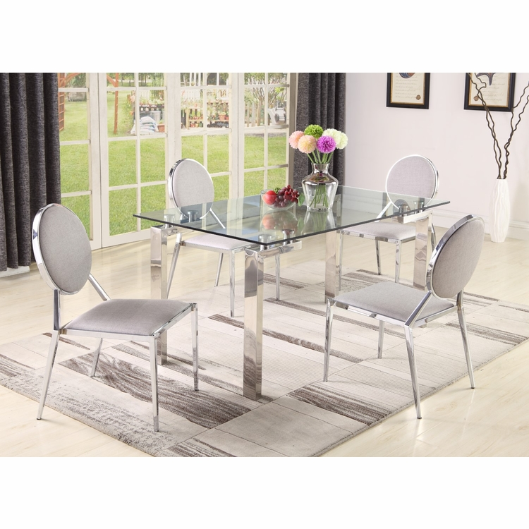 Chintaly - Cristina 5 Pieces Dining Set Table With 4 Abigail Side Chairs - CRISTINA-ABIGAIL-5PC