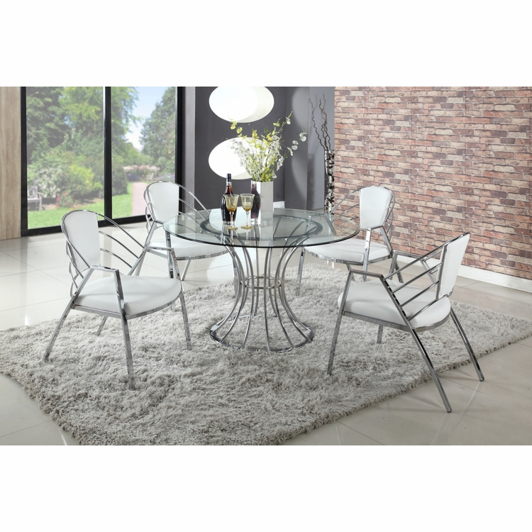 Chintaly - Destiny 5 Pieces Dining Set Table With 4 Arm Chairs - DESTINY-5PC