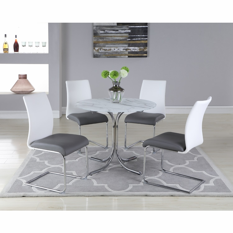 Chintaly - Dorothy 5 Pieces Dining Set Table With 4 Jane Side Chairs - DOROTHY-JANE-5PC-GL