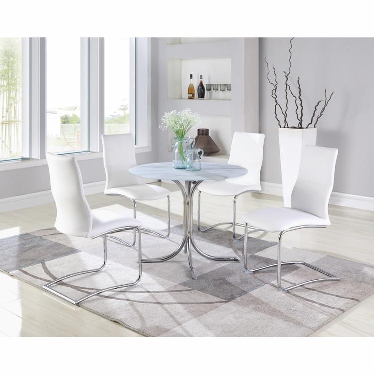 White Grey Faux Marble Dining Table