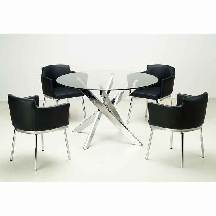 Chintaly - Dusty 5 Piece Dining Set - DUSTY-DT_AC-BLK-KD_AC-BLK-KD