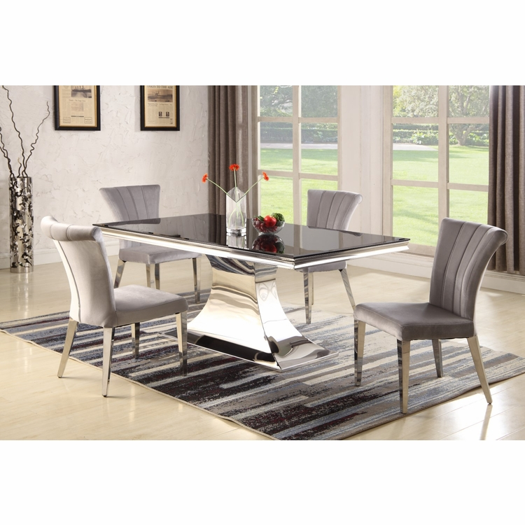 Chintaly - Emily 5 Pieces Dining Set Table With 4 Side Chairs - EMILY-5PC