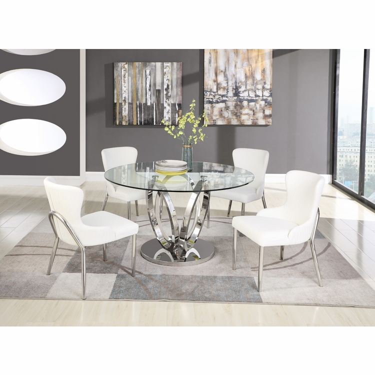 Chintaly - Evelyn 5 Pieces Dining Set Table With 4 Side Chairs - EVELYN-5PC-POL